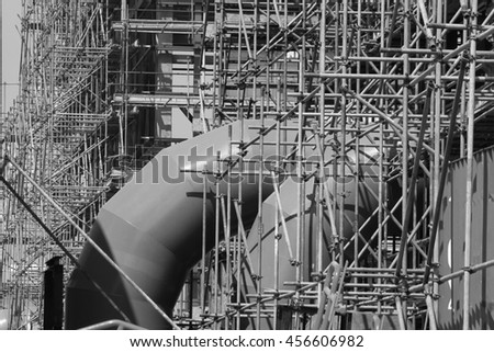 Scaffolding was built power plant