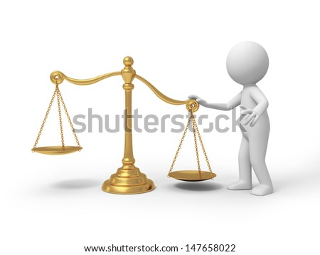 scale/A 3d person standing besides a scale - stock photo