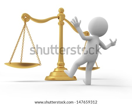 scale\A 3d person surprised by a scale/justice - stock photo