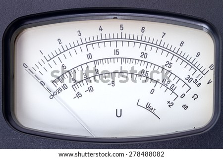 Scale  analog electronic voltmeter close-up