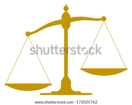 scale illustration of the silhouette of an unbalanced vintage scale with empty pans showing one side weighted down more than the other depicting imbalance, inequality and justice - stock photo