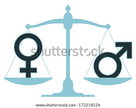 Scale in equilibrium with male and female icons showing an equality and perfect balance between the sexes - stock photo
