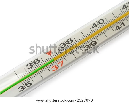 Scale of Thermometer - 37 on white background - isolated