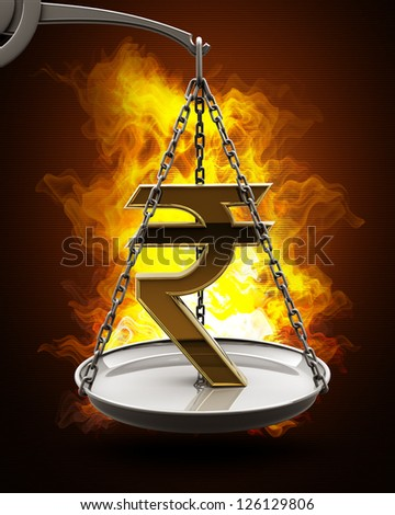 Scale with golden Indian rupee in Fire. High resolution. 3D image - stock photo