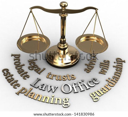 Scale with legal concepts of lawyer attorney law office estate such as planning probate wills - stock photo
