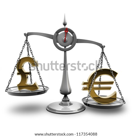 Scale with symbols of currencies Euro vs British pound isolated on white background High resolution 3d render