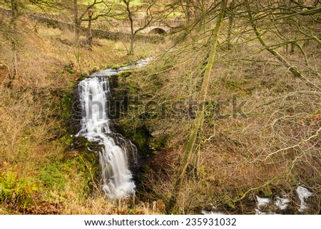 Scaleber Foss / Scaleber Force or Foss waterfall near Settle in the Yorkshire Dales National Park - stock photo