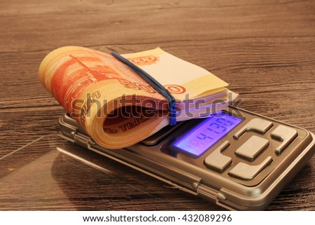scales and money - stock photo