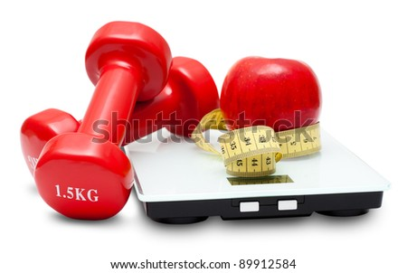 Scales, dumbbells, red apple and measuring tape isolated on the white background. Diet concept. - stock photo