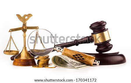 scales,gavel,  money and magnifying glass - stock photo