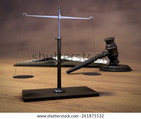 Scales, hammer of the judge and the book on a wooden background. 3d illustration. - stock photo