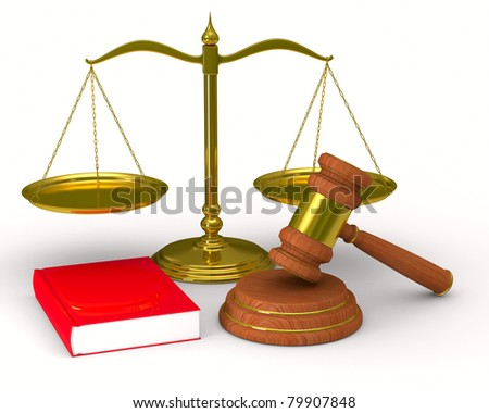 Scales justice and hammer on white background. Isolated 3D image - stock photo