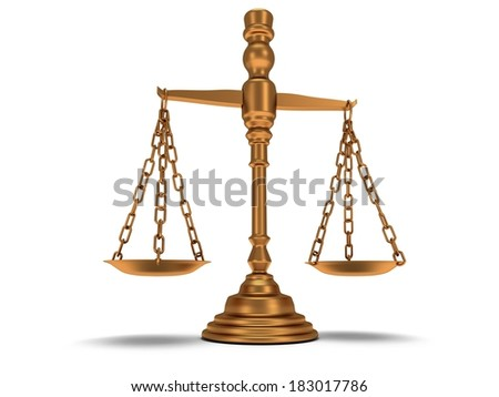 Scales justice on white. Judge, Law, Auction, Medicine concept. 3d Render. Isolated white background.