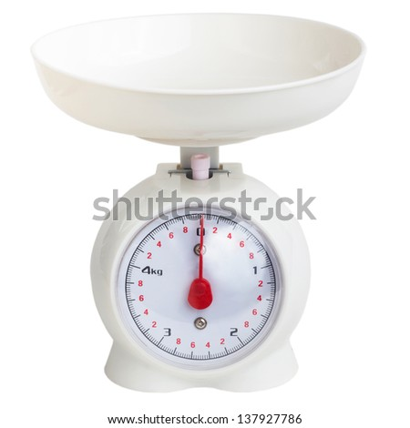 scales kitchen plastic grocery white isolated on white background clipping path - stock photo