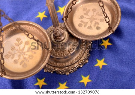 Scales of justice and Flag of European union , European union law concept - stock photo