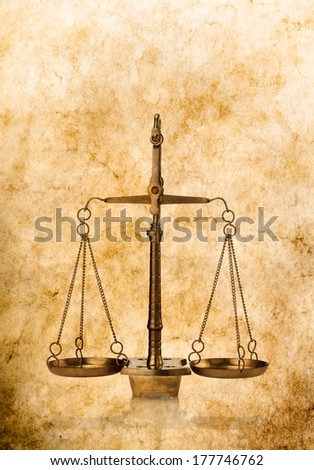 scales of justice antique style background