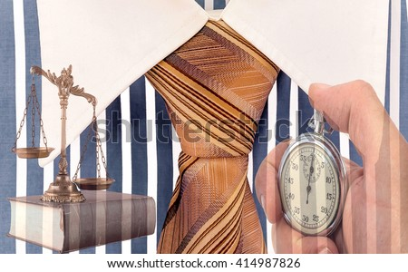Scales of justice on the book, stopwatch and Blue and white cotton shirt .Lawyer working against time. Business metaphor - stock photo