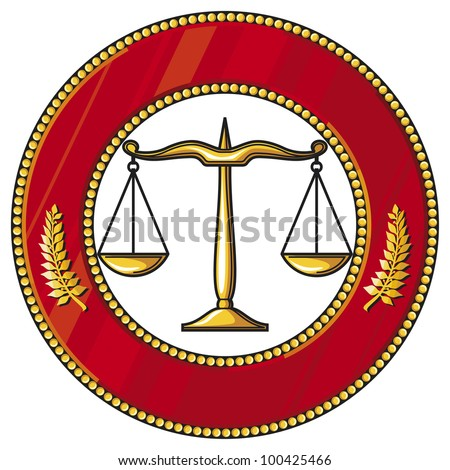 scales of justice symbol (badge) - stock photo