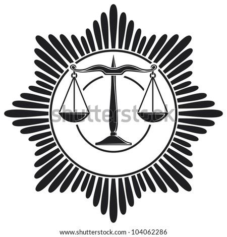 scales of justice symbol (scales of justice seal, scales of justice order, scales of justice medal) - stock photo