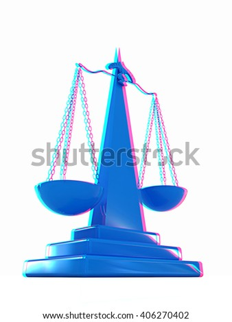 Scales on a white background. 3D illustration. Anaglyph. View with red/cyan glasses to see in 3D. - stock photo
