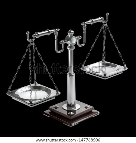 scales vintage isolated on black background. High resolution 3D image  - stock photo