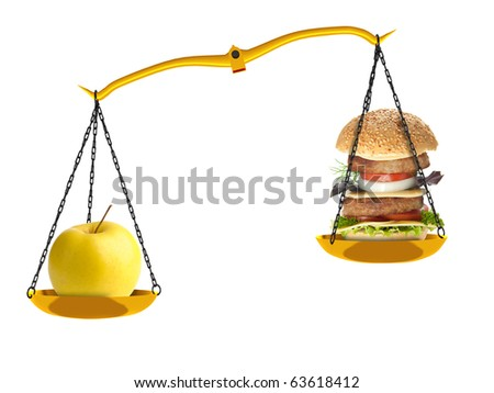 Scales with an apple and a hamburger. Concept nutrition. It is isolated on a white background. - stock photo