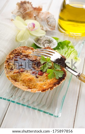 scallop au gratin with balsamic vinegar - stock photo