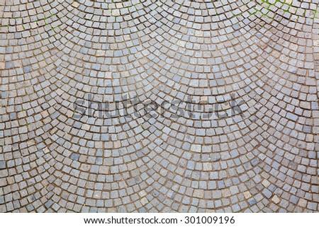 Scallop pattern cobble stone street  - stock photo