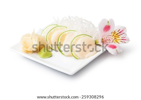 scallops sashimi with withe plate isolated on white background - stock photo