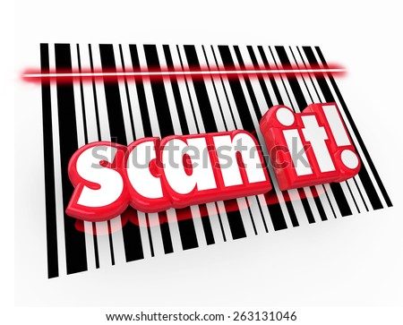 Scan It words in red 3d letters on UPC barcode chart to illustrate universal product code for merchandise to track for inventory and pricing - stock photo