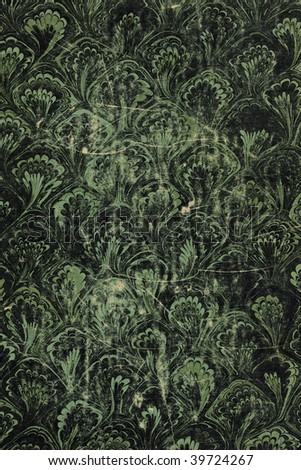 Scan of scratched and grungy, marbled paper on cover of 1911 book - stock photo