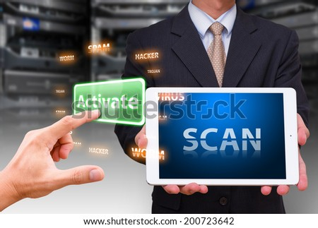 Scan virus by programmer - stock photo