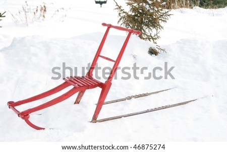 "Scancinavian traditional Kicksled called ""Spark"" - stock photo"