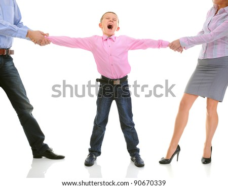 Scandal in the family. Parents share child. Isolated on white background - stock photo