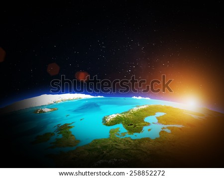 Scandinavia. Elements of this image furnished by NASA - stock photo