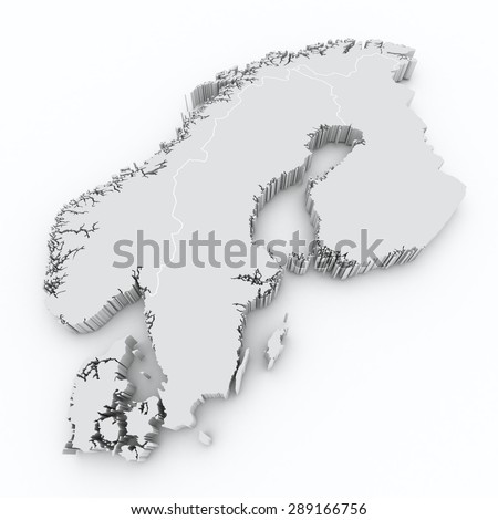 scandinavia on 3d map  - stock photo