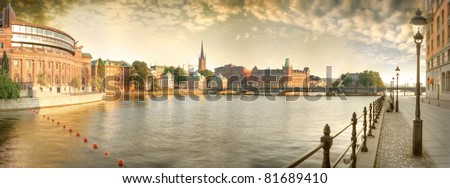 Scandinavia. Panorama of Old Town in Stockholm. - stock photo