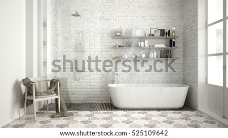 Scandinavian Bathroom Classic White Vintage Interior Design 3d Illustration