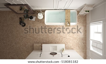 Scandinavian bathroom, white minimalistic design, hotel spa resort, top view, 3d illustration