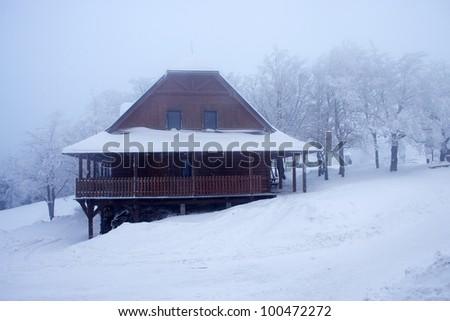 Scandinavian cabin - stock photo