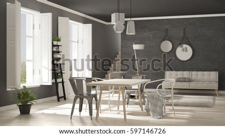 Scandinavian living room with big windows, minimalist white and gray interior design, 3d illustration