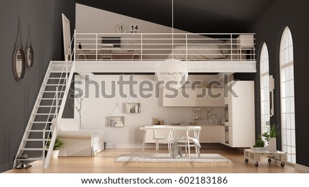 Scandinavian Minimalist Loft One Room Apartment With White Kitchen Living And Bedroom