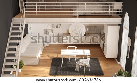Scandinavian Minimalist Loft, One Room Apartment With White Kitchen, Living  And Bedroom,