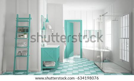 turquoise bathroom. Scandinavian minimalist white and turquoise bathroom  shower bathtub decors classic vintage interior Minimalist White Gray Turquoise Bathroom Stock