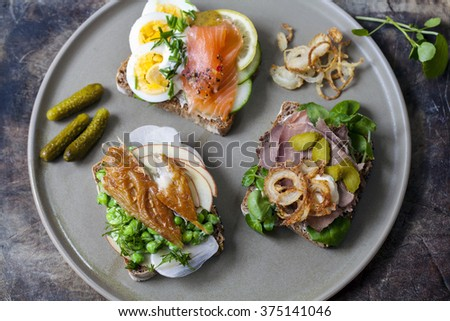 Scandinavian open sandwiches: beef, watercress and crisp onion, egg and salmon, smocked mackerel with crushed peas, fennel and apple - stock photo