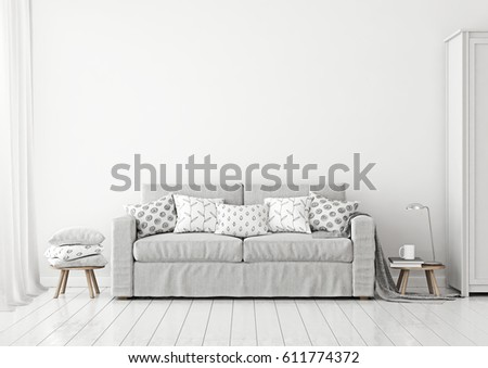 Scandinavian Style Livingroom Interior With Grey Sofa And Pillows On Neutral White Wall Background 3D