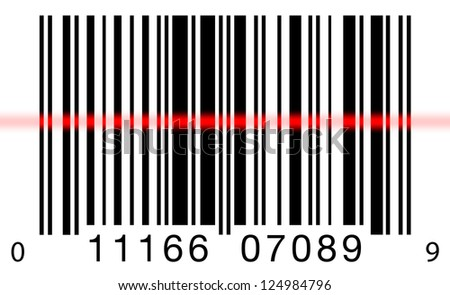 Scanning a barcode on a white background with a red laser scanner - stock photo