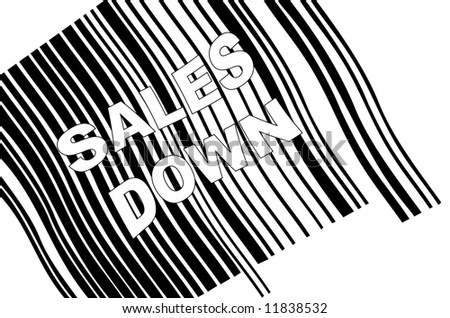 scanning barcode with the words - sales down