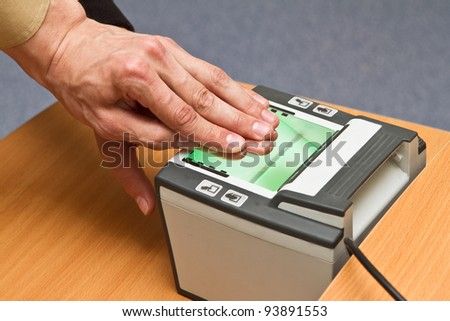 scanning fingerprints - stock photo