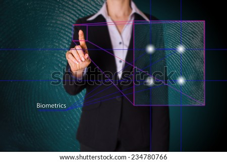 scanning of a finger on a touch screen interface. digital fingerprint - stock photo